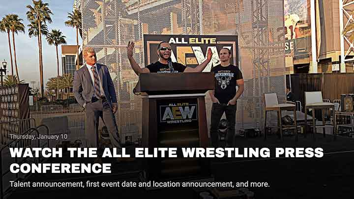 All Elite Wrestling web design mock-up