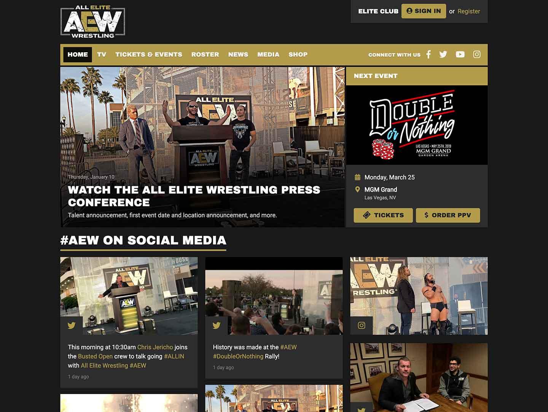 All Elite Wrestling web design mockup   Your Fight Site